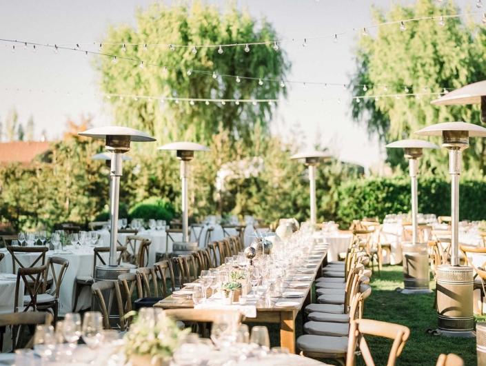 Patio Heaters at the ready for the cool Carneros evening - Brian & Jon at Tyge Williams Cellars by Sharon Burns, Napa Valley Custom Events