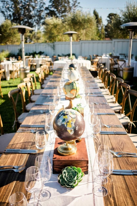 Globes & Succulents set the tables - Brian & Jon at Tyge Williams Cellars by Sharon Burns, Napa Valley Custom Events