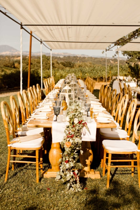 Eucalyptus, bottle brush and white lanterns adorn the tables for Brie & Tyler at Arista Winery, Healdsberg, by Sharon Burns, Intimate Weddings Napa ValleyThe Outdoor Lounge for Brie & Tyler at Arista Winery, Healdsburg, by Sharon Burns, Napa Valley Custom Events