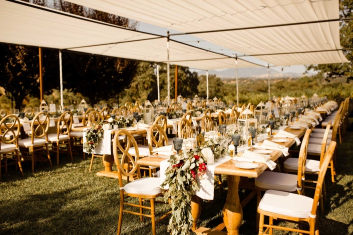 Cozy, elegant outdoor dining for +/-70 for Brie & Tyler at Arista Winery, Healdsberg, by Sharon Burns, Intimate Weddings Napa Valley