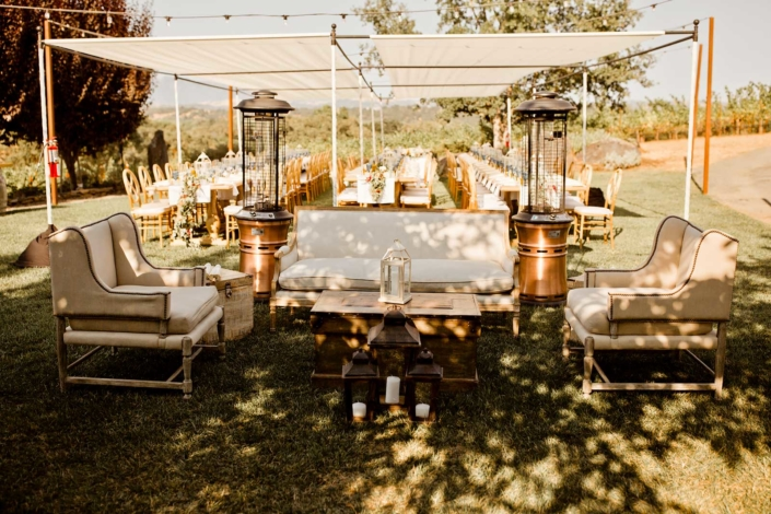 The Outdoor Lounge for Brie & Tyler at Arista Winery, Healdsberg, by Sharon Burns, Napa Valley Custom Events